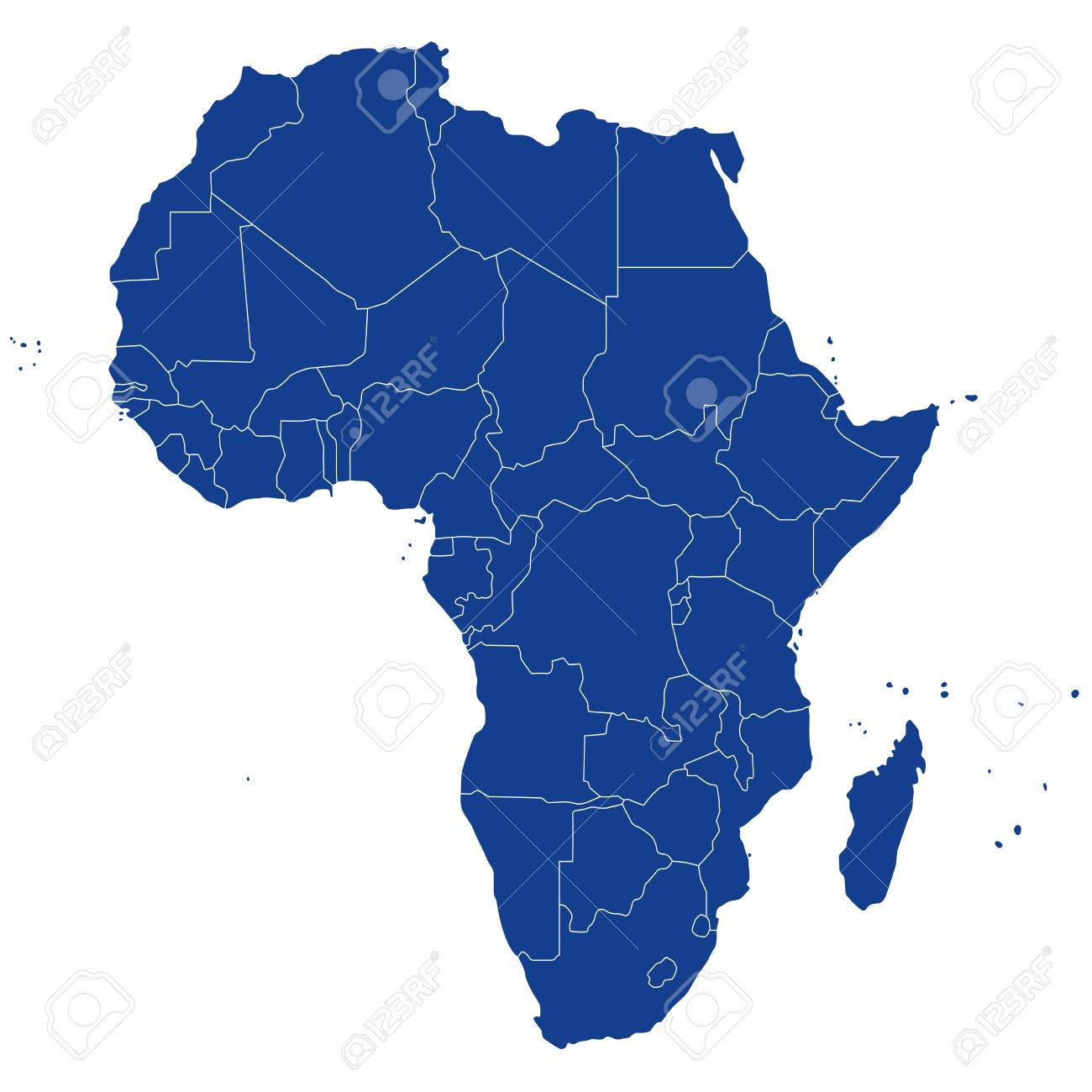 Highly Detailed Political Map Africa Royalty Free Cliparts Vectors