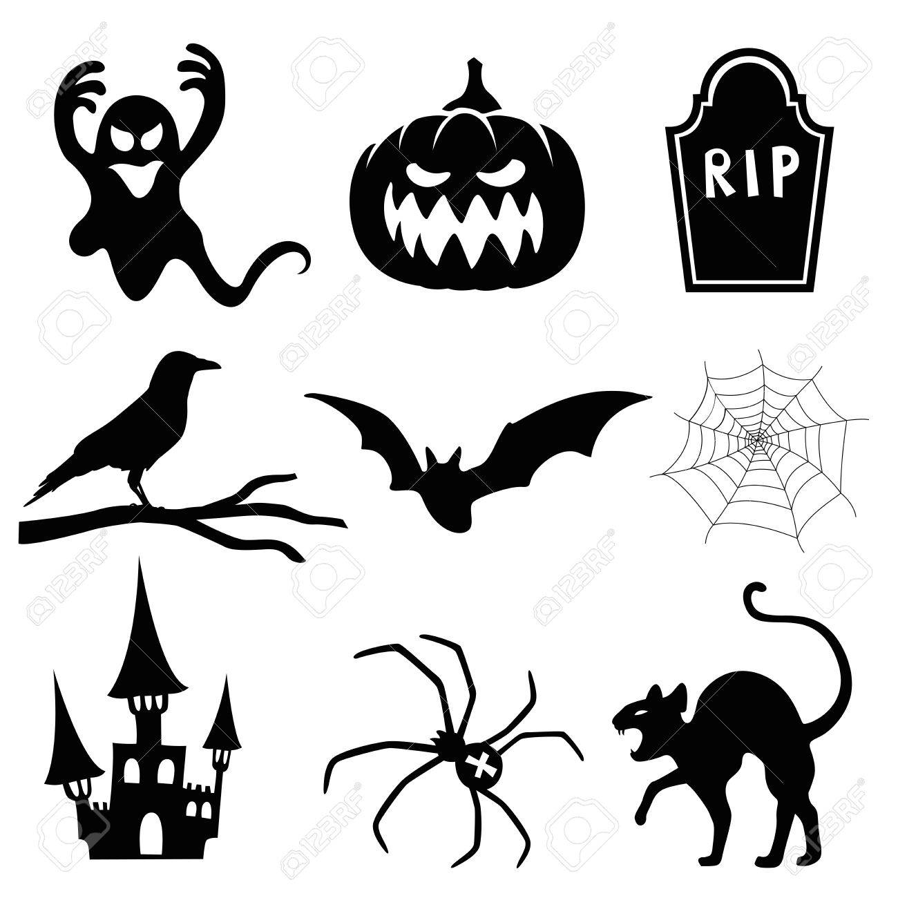 Halloween Silhouette Set Royalty Free Cliparts, Vectors, And Stock ...