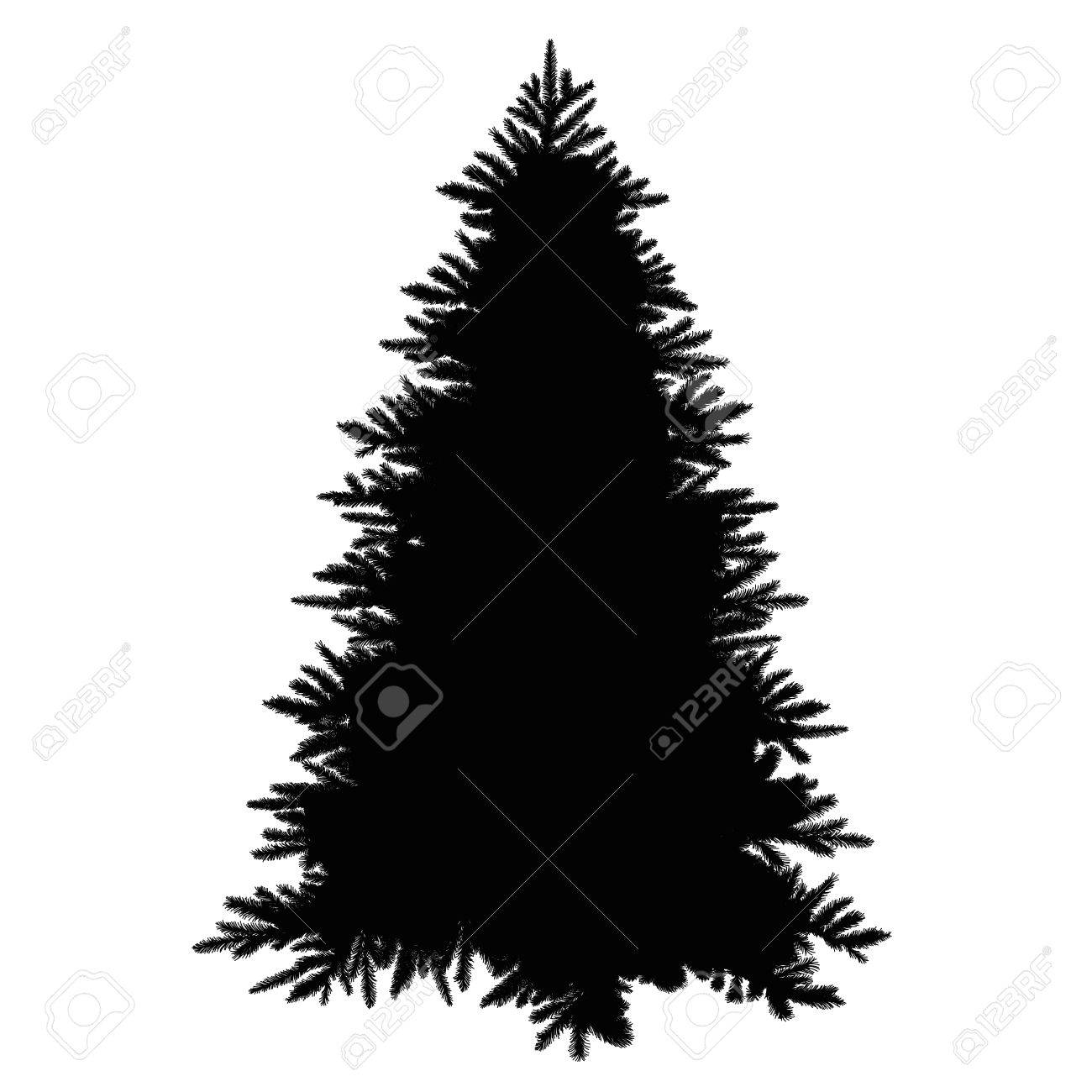 Christmas Tree Illustration.Christmas Tree Silhouette