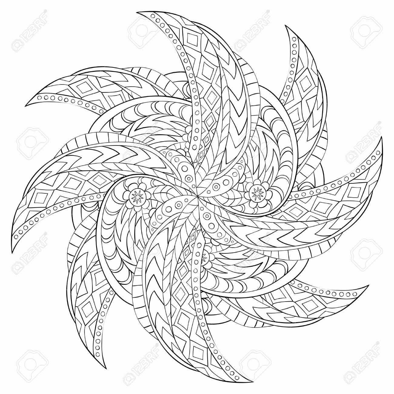 Outline Mandala for coloring book. Decorative round ornament...