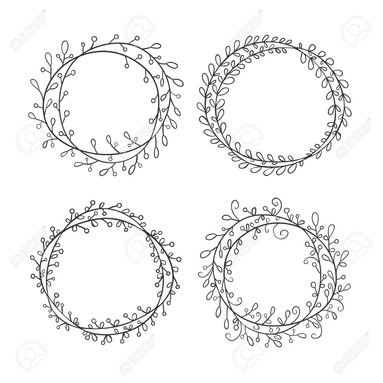 Set Of Round Frames Hand Drawn Round Frame Made Of Branches