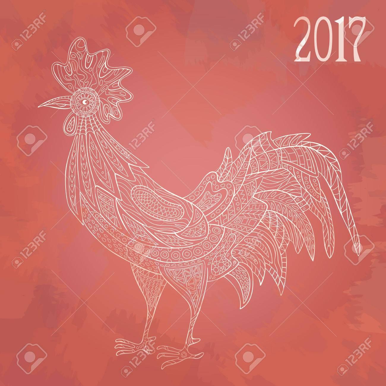 Hahn Auf Weißem Hintergrund. Für Das Neue Jahr 2017, Chinese New ...