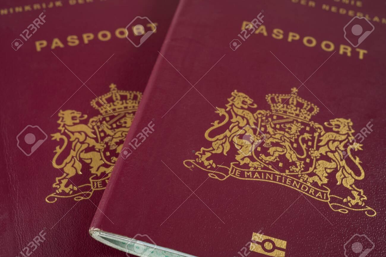 Two Dutch Passports close up - 131827674