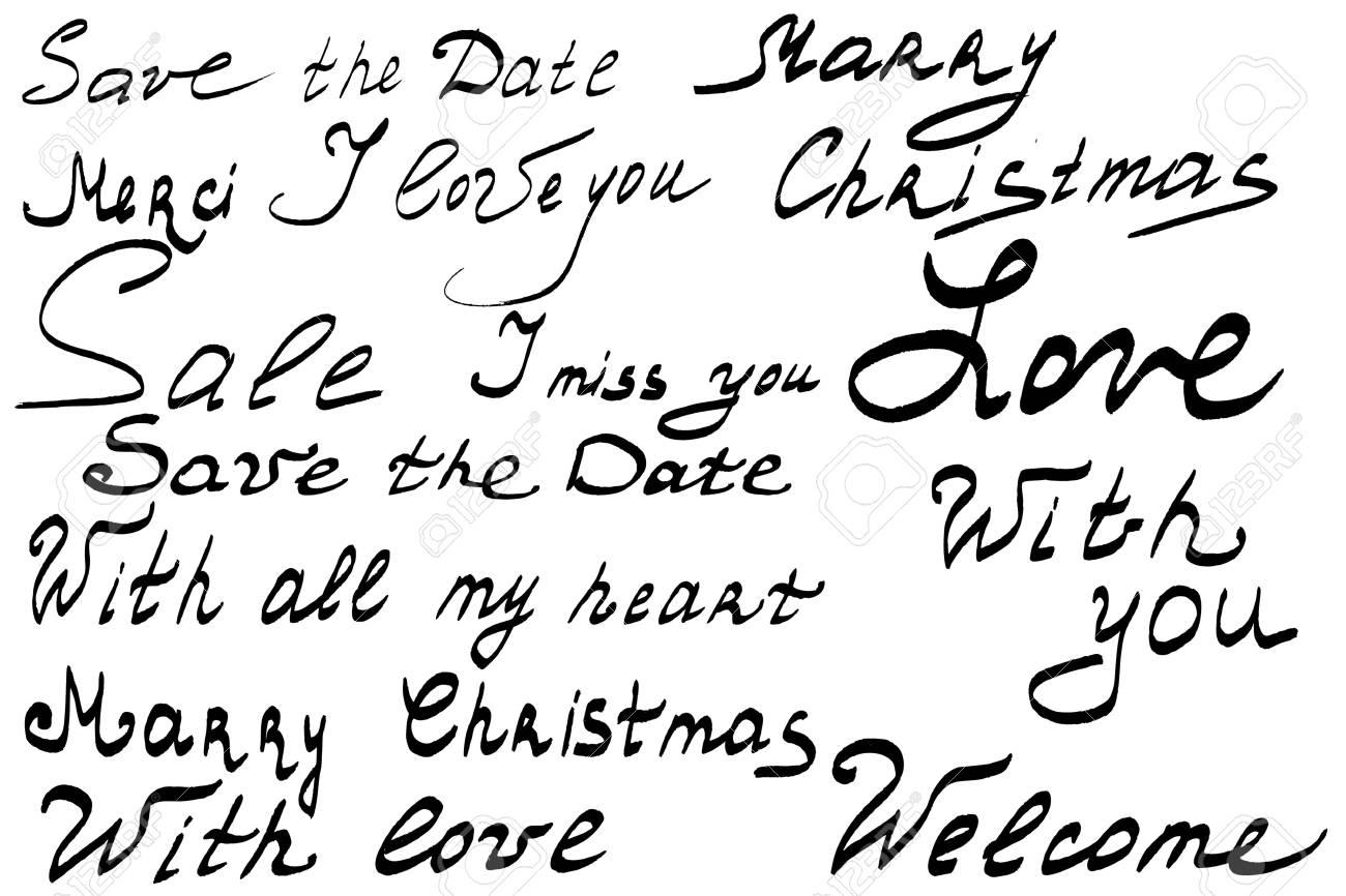 Lettrage à La Main Réglée Réserve Cette Date Joyeux Noël Je Taime Whith Amour