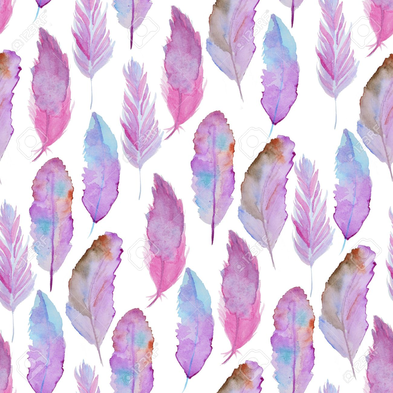 Seamless Watercolor Pattern With Feathers Vintage Paint