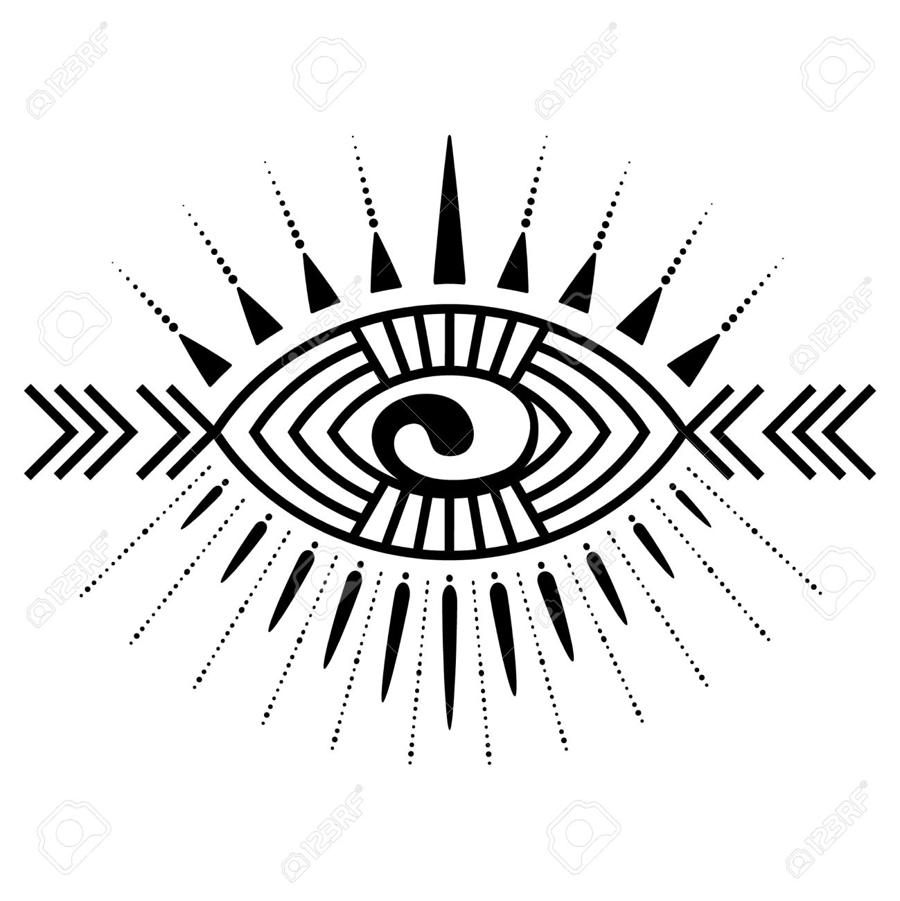 6758615fb954a Stylized ornamental eye. Tribal style. Tattoo element Stock Vector -  47042686