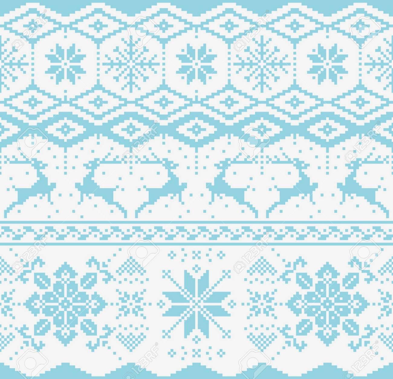 Navidad Azul De Punto De Patrones Sin Fisuras Sobre Fondo Blanco ...