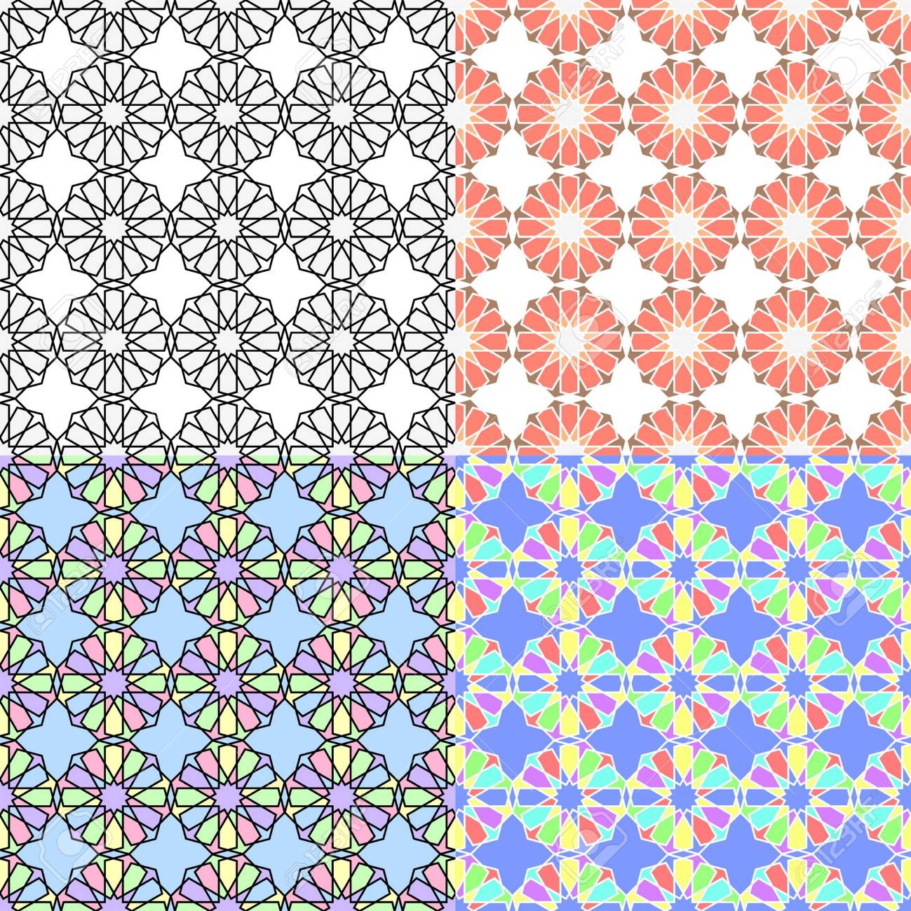 set of arabic multicolor seamless patterns background with a