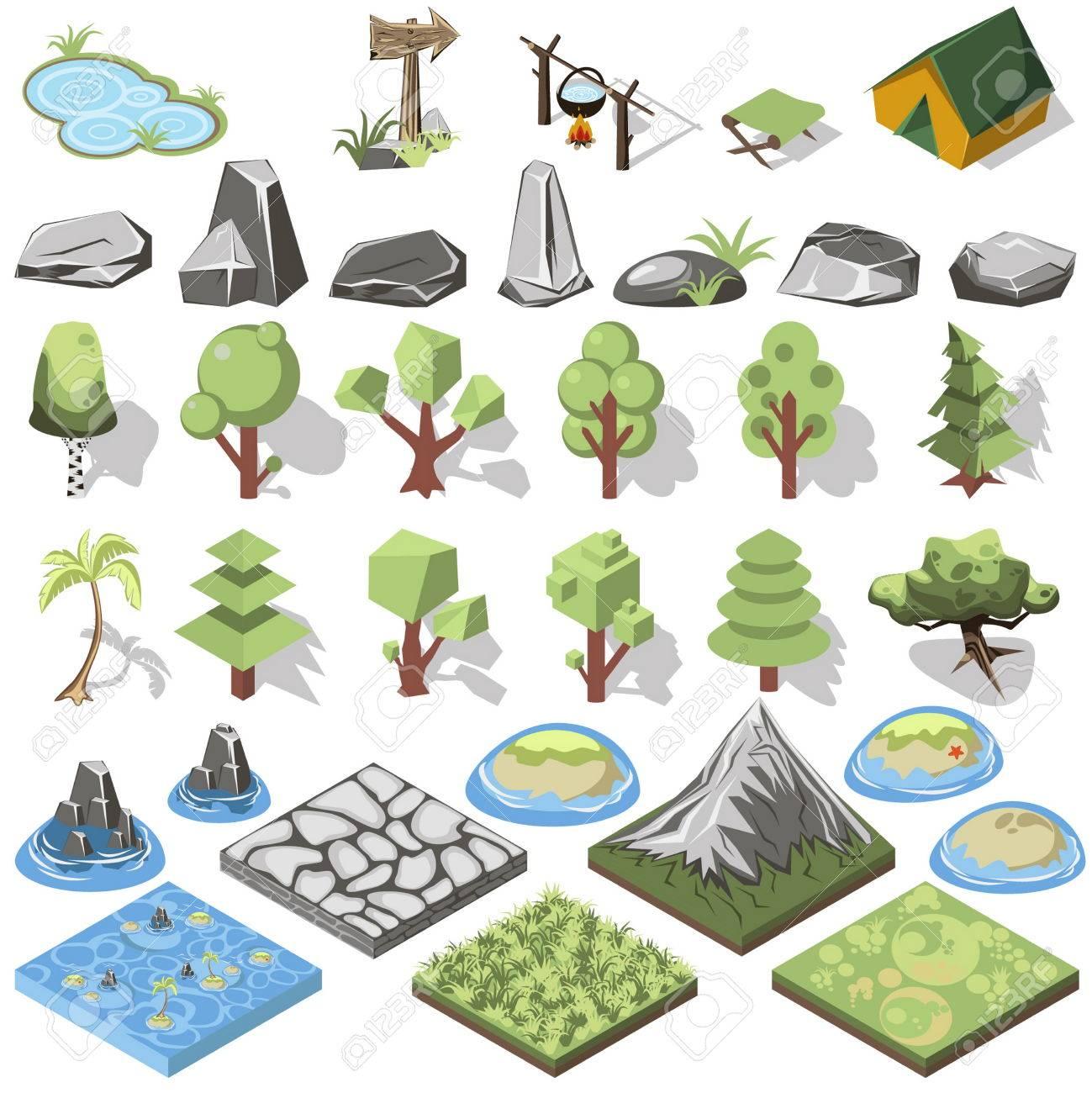Die Isometrische 3d-wald Camping Elemente Für ... Garten Landschaft Gestaltung Wald