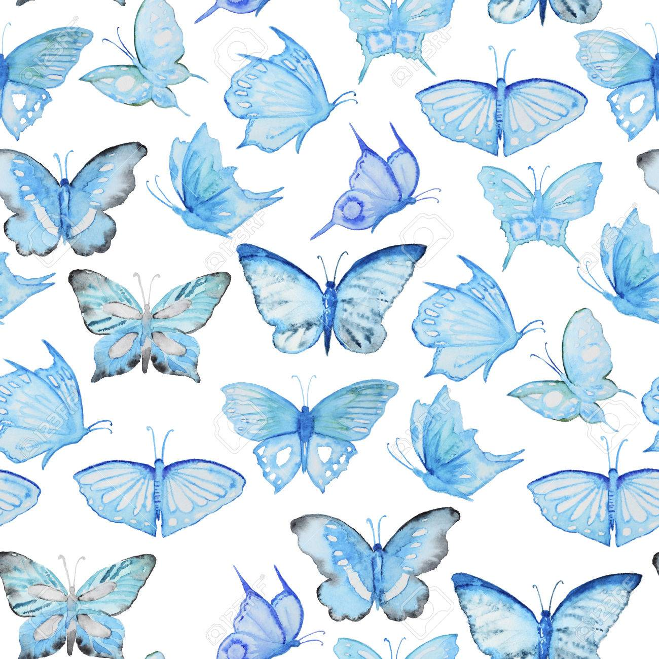 Seamless Watercolor Pattern With Blue Butterfly Vintage Seamless