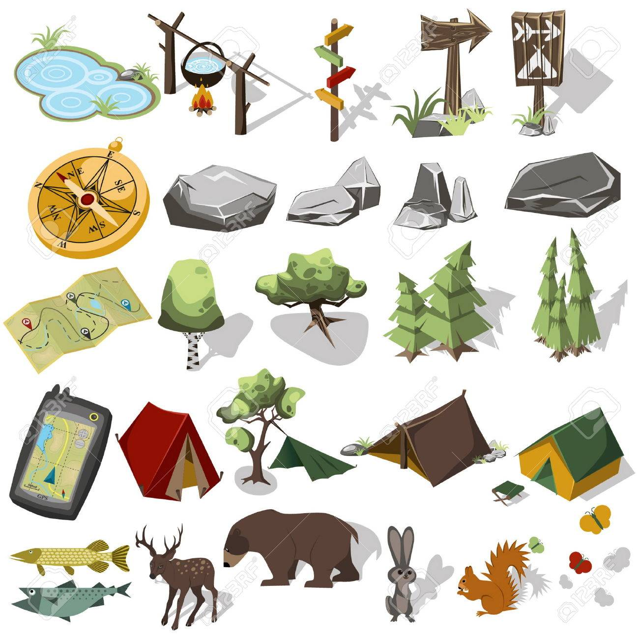 Isometric 3d forest hiking elements for landscape design. Tent and camp, tree, rock, wild animals. Navagation equpment. Vector illustration - 52414589