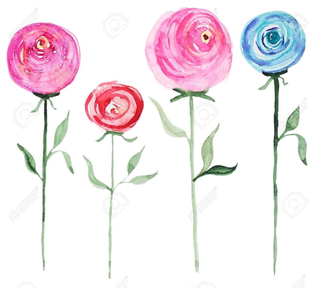 Sammlung Von Abstrakten Aquarell Rosa Blüten. Set Der Schönen ...