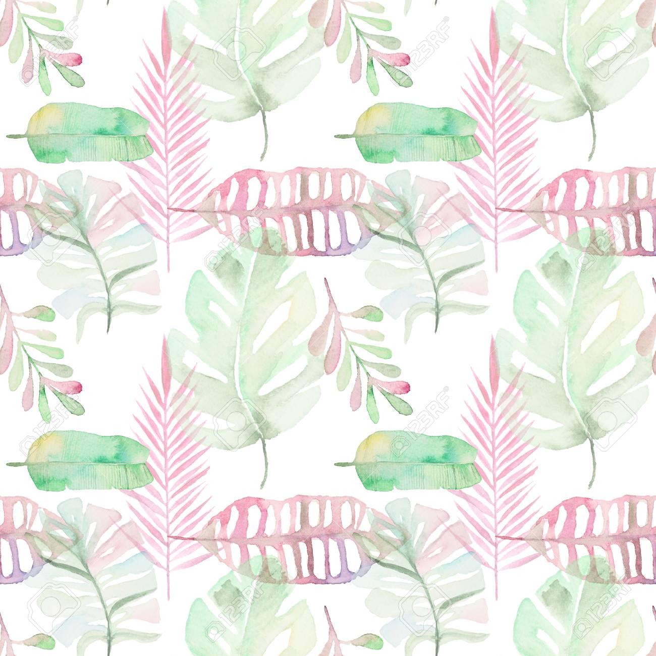Aquarell Tropische Palmen Blatter Nahtlose Muster Grune Und Rosa