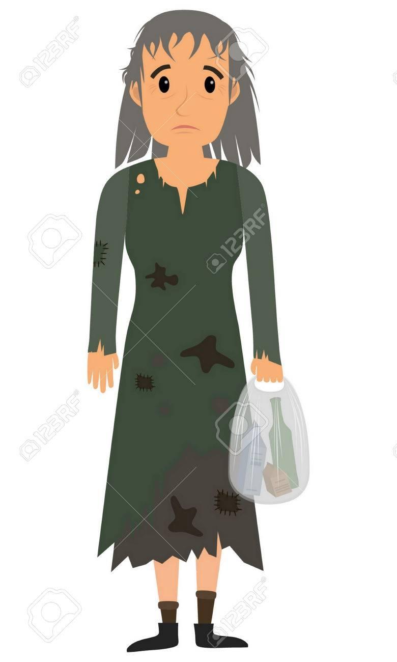 60820438e5e7 Mujer sin hogar en las viejas ropas sucias whith bolsa en la mano. Vector  ilustración de dibujos animados plana