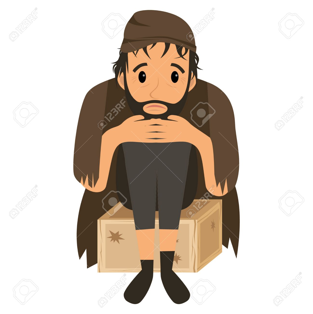 29d66accdd8f El hombre sin hogar con ropa vieja sucia en caja de madera. Vector  ilustración de dibujos animados plana