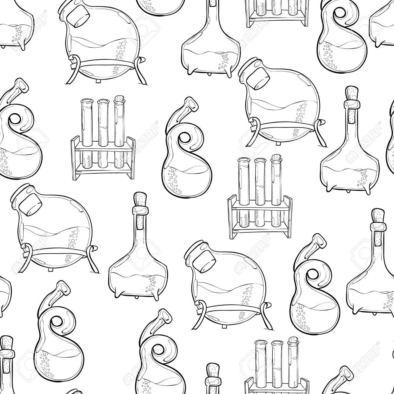 Hand Drawn Science Vintage Chemistry Lab Sketch Seamless Pattern ...
