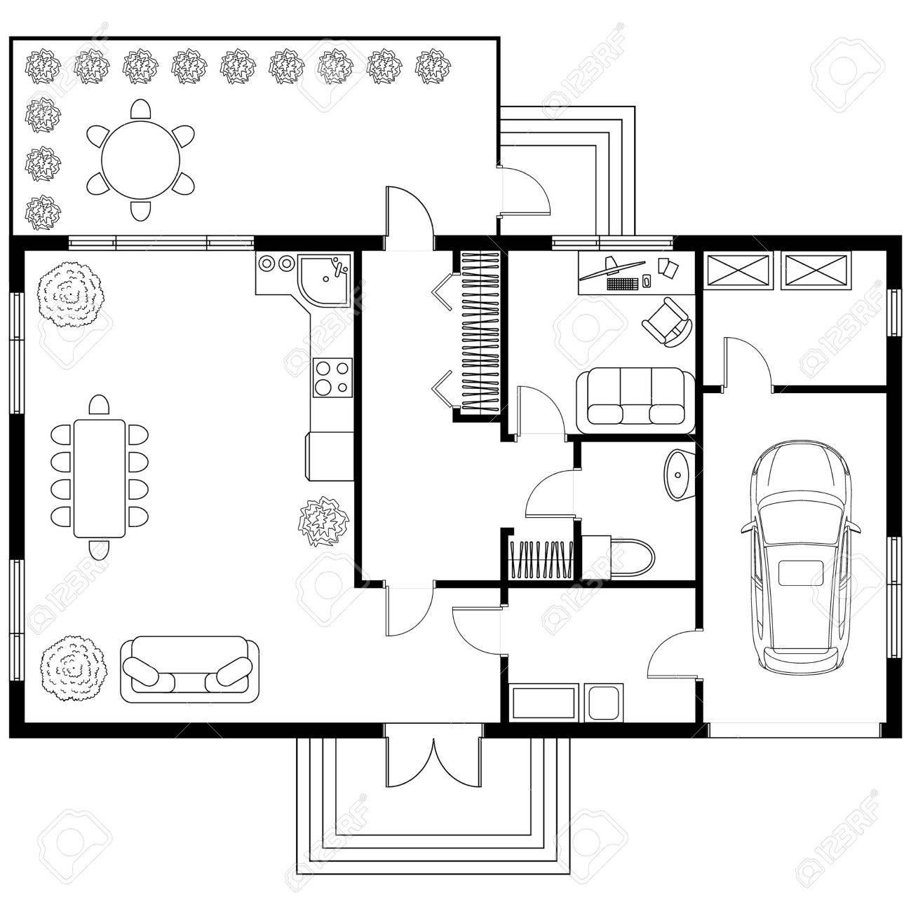Progetto Architettonico In Bianco E Nero Di Una Casa Con La Macchina ...