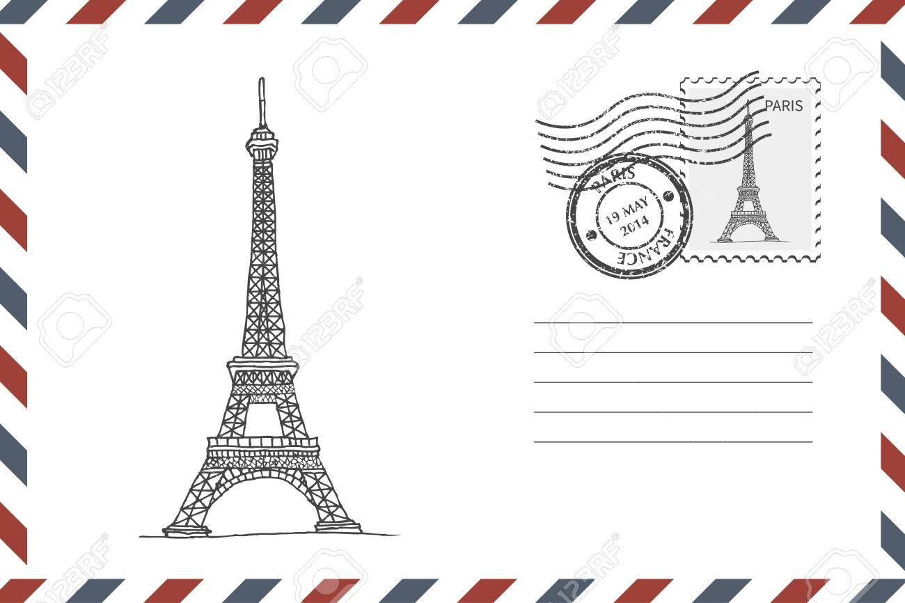 Envelope with hand drawn Eiffel Tower - 134161193