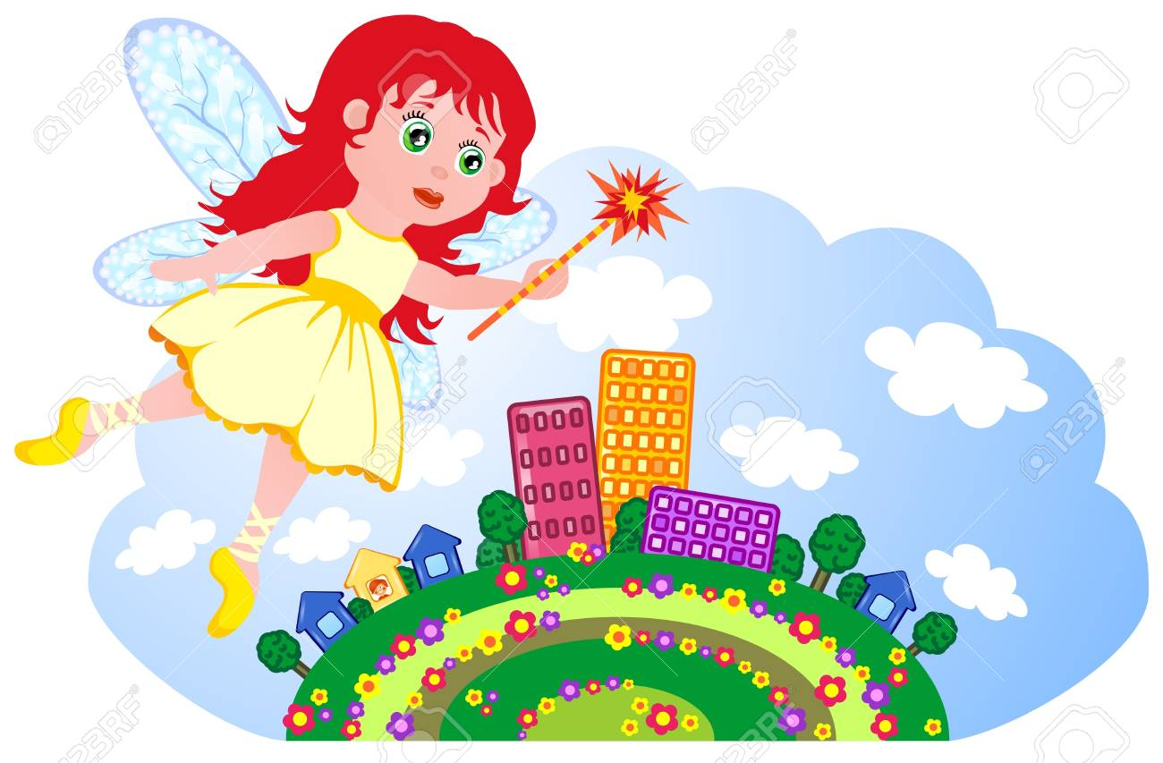 The small fairy flies over the small town Stock Photo - 17335635