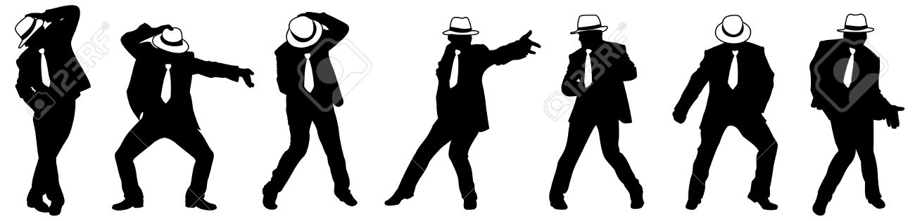 silhouette of the man in a hat dancing in style michael jackson stock photo