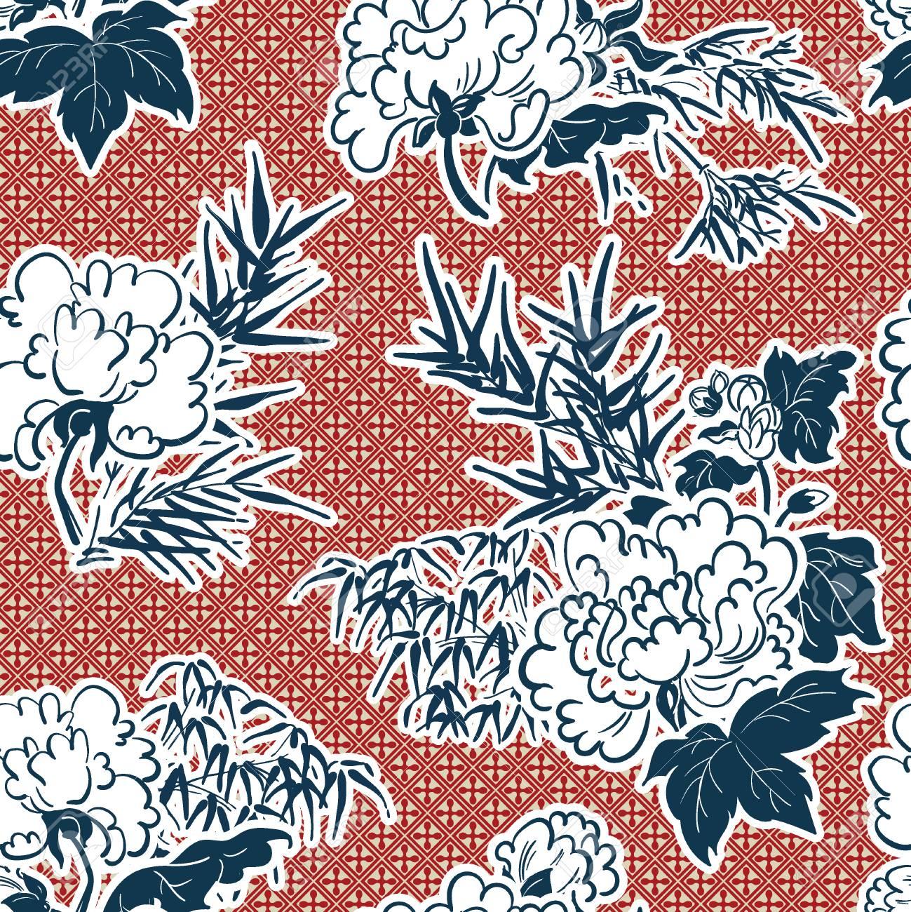 japanese traditional vector illustration peony pattern - 120440872