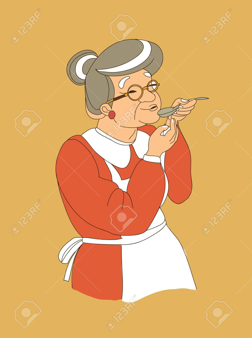 grandmother soup vector illustration doodle isolated - 123739924