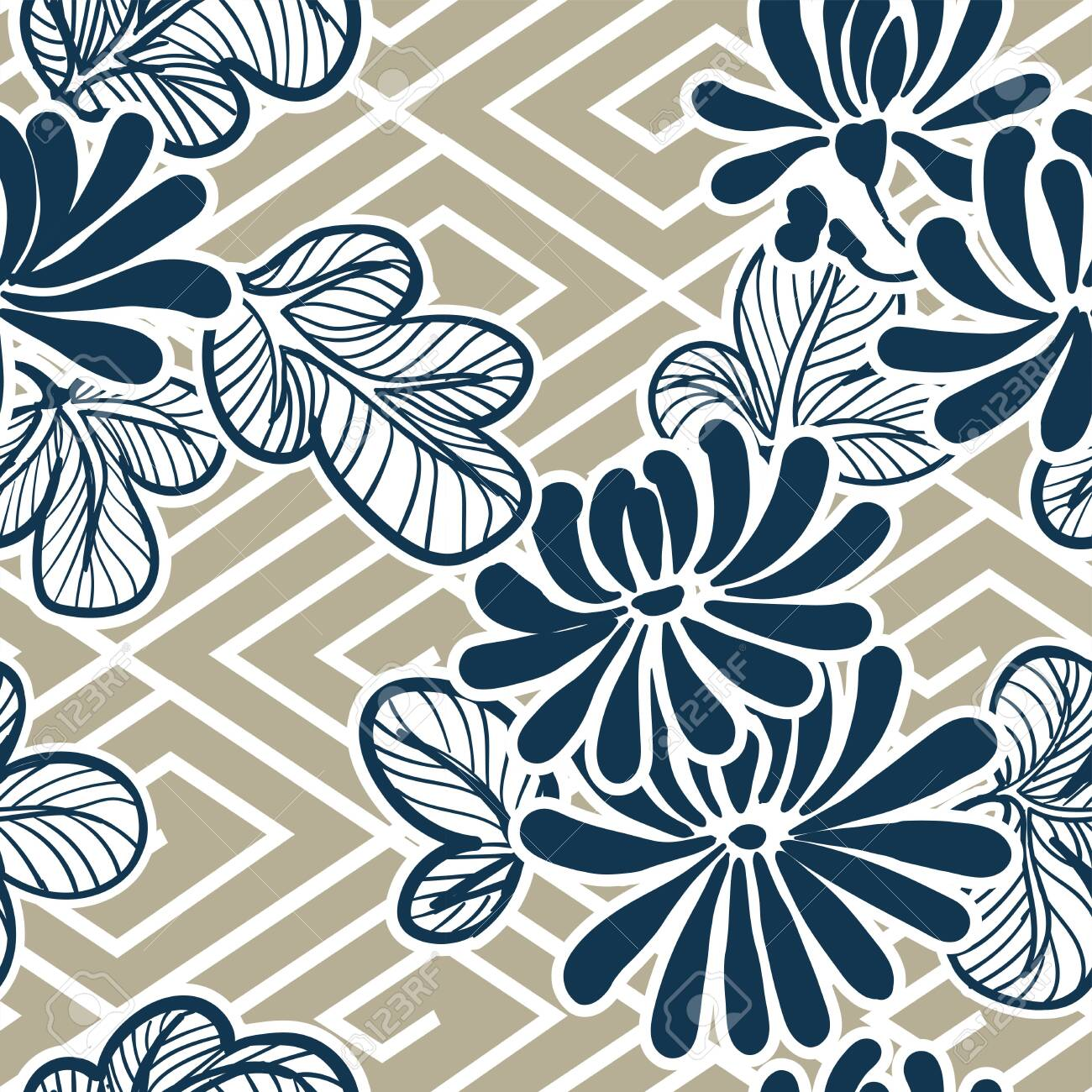 japanese vector flower pattern seamles traditional - 142201354