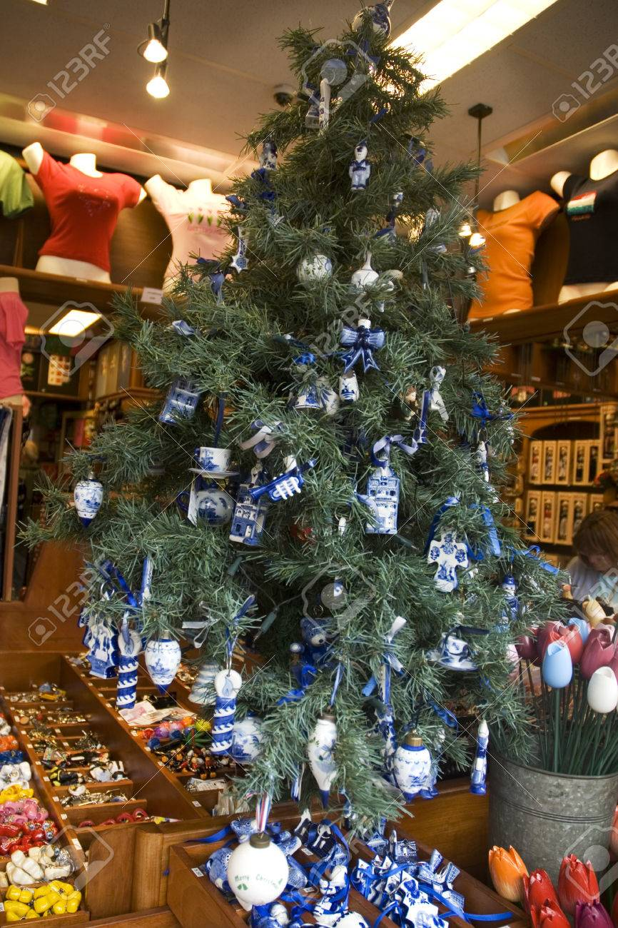 Christmas In Holland.Dutch Christmas Tree With Souvenirs From Holland