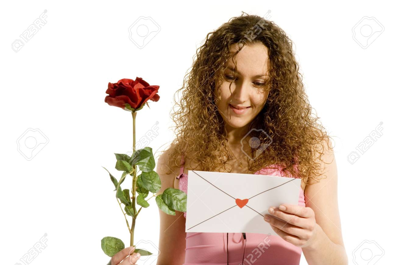 attractive girl with Valentine card or loveletter Stock Photo - 2412612