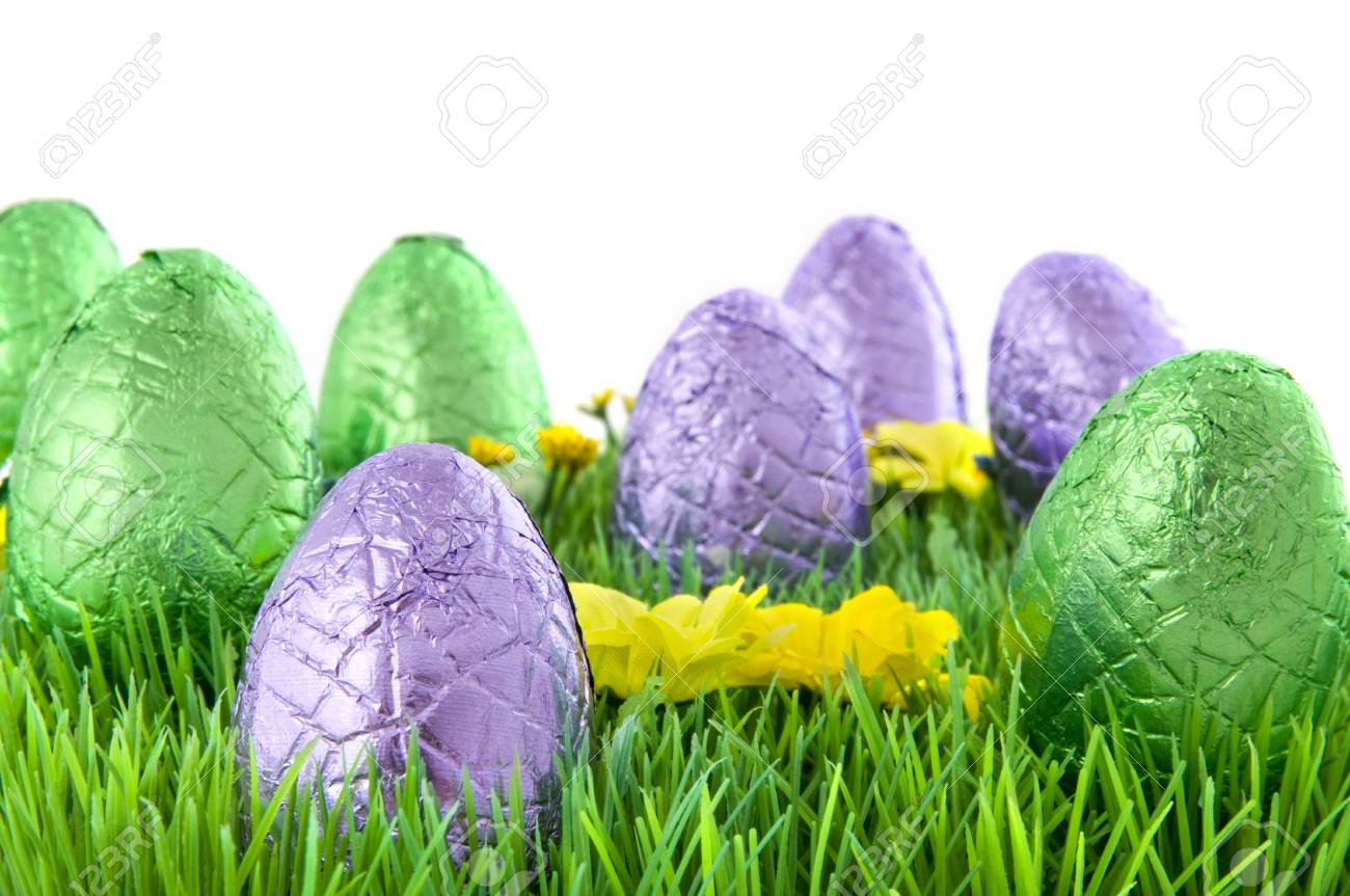 chocolate easter eggs in the grass Stock Photo - 4043338