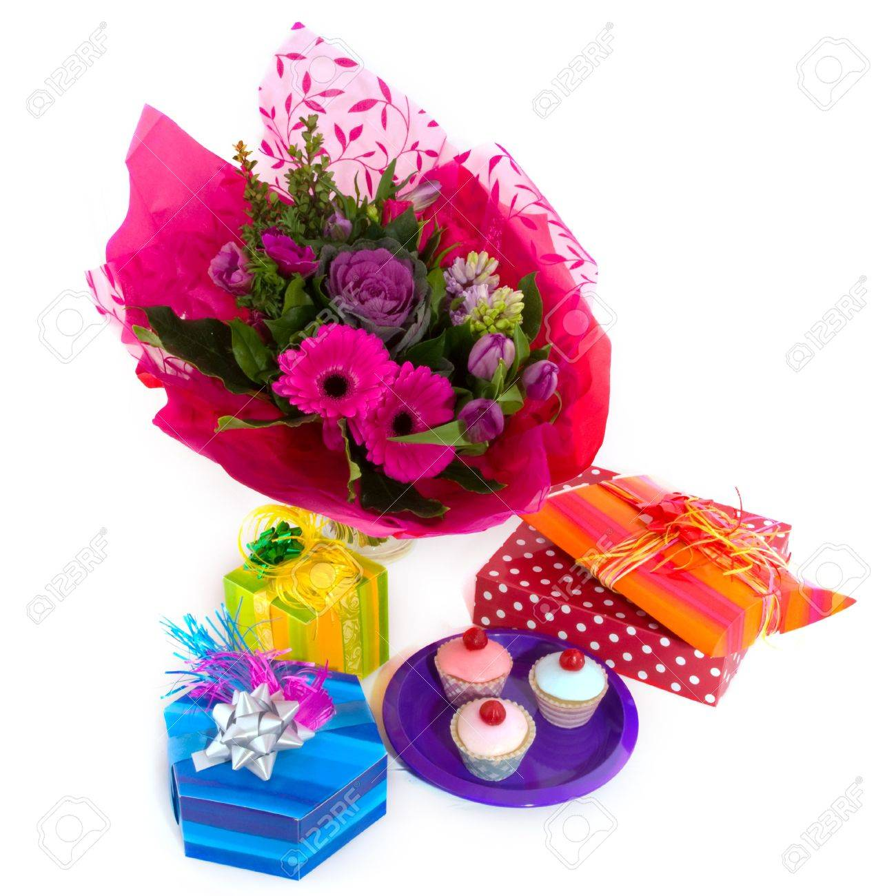 Happy Birthday With Flowers Surprises And Fancy Cakes Stock Photo