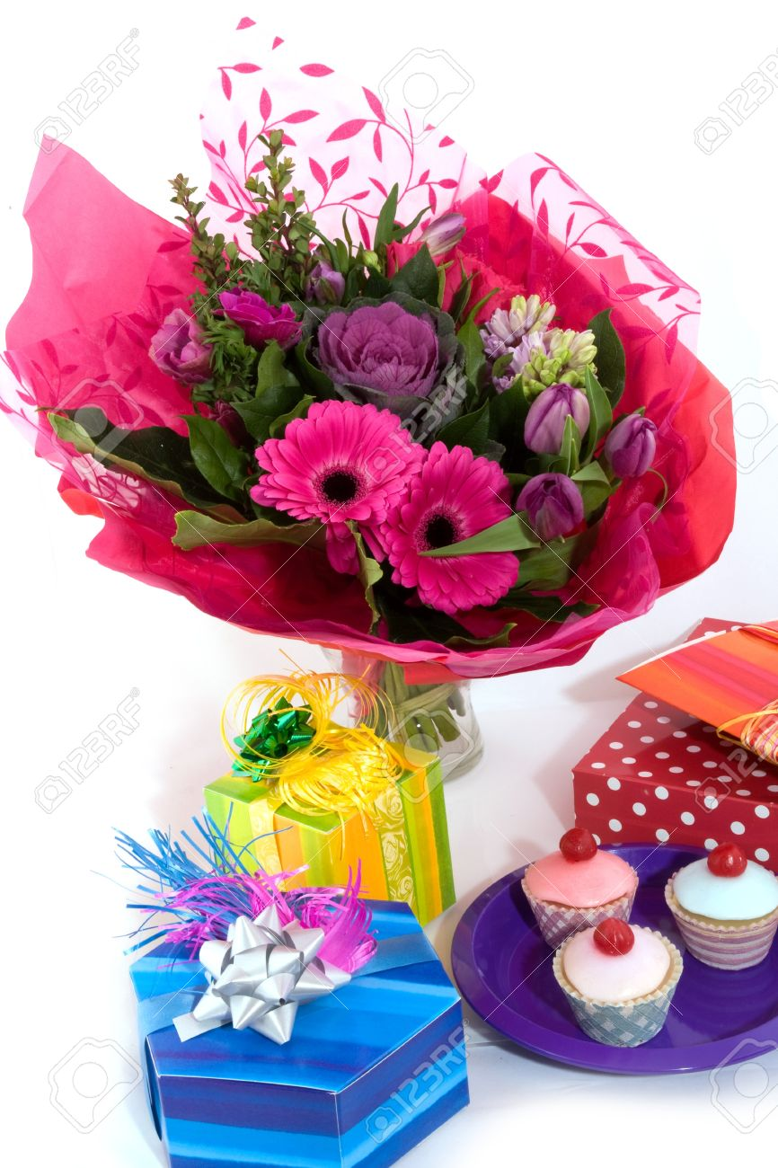 Happy birthday with flowers fancy cakes and presents stock photo happy birthday with flowers fancy cakes and presents stock photo 4339869 izmirmasajfo