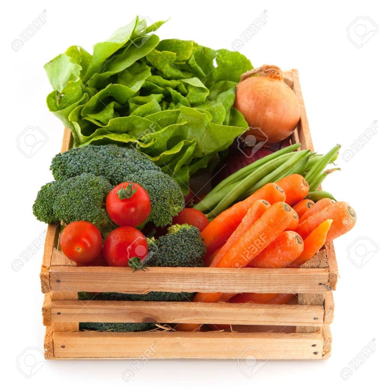 Vegetable Crates: Wooden Crate With A Diversity Of Daily Vegetables