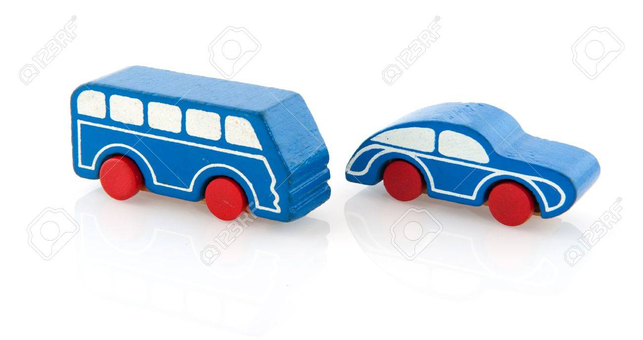 blue painted wooden simple car and bus isolated over white Stock Photo - 5267352