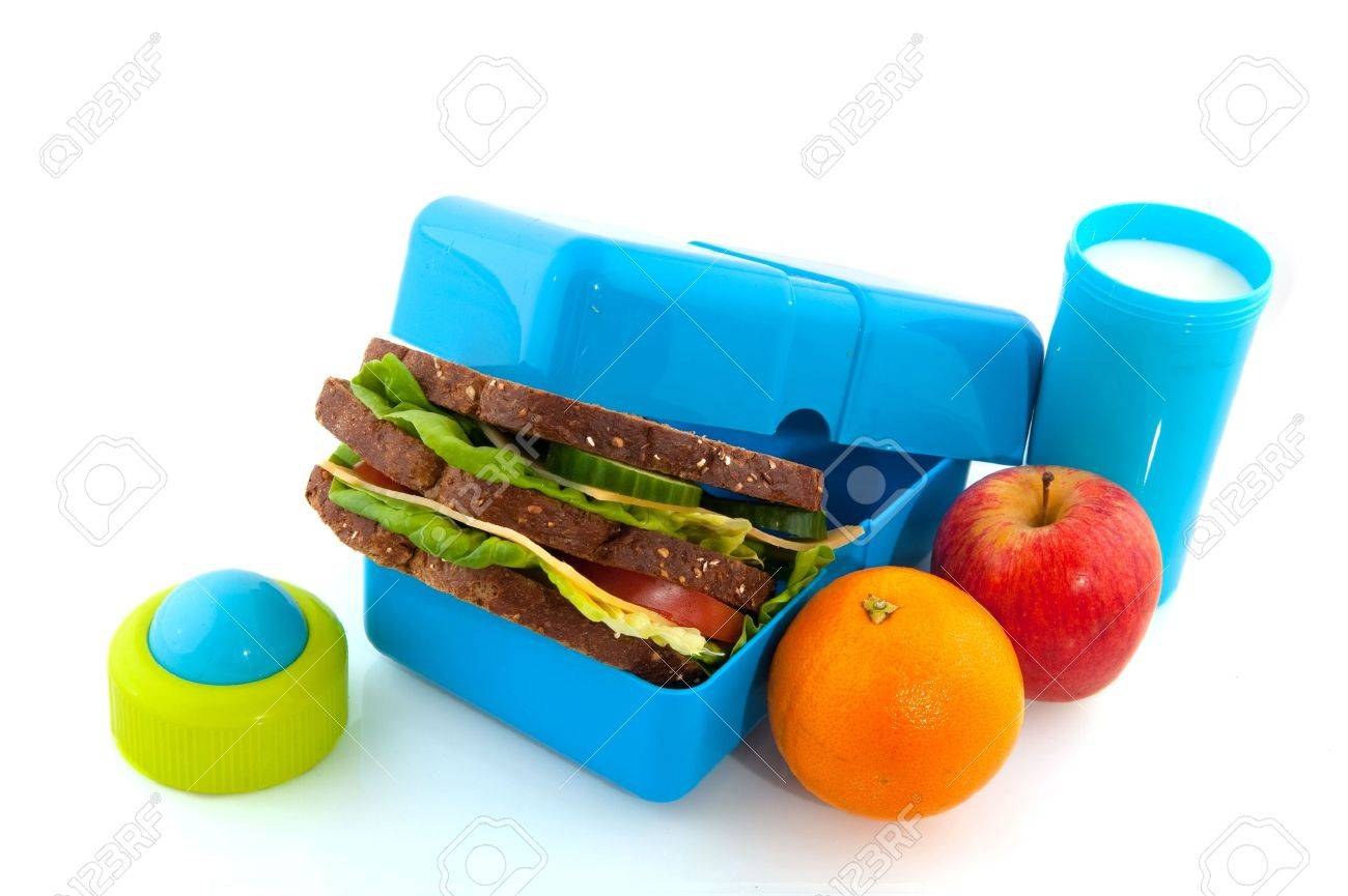 Healthy lunch box with bread fruit and milk for take away Stock Photo - 5378991