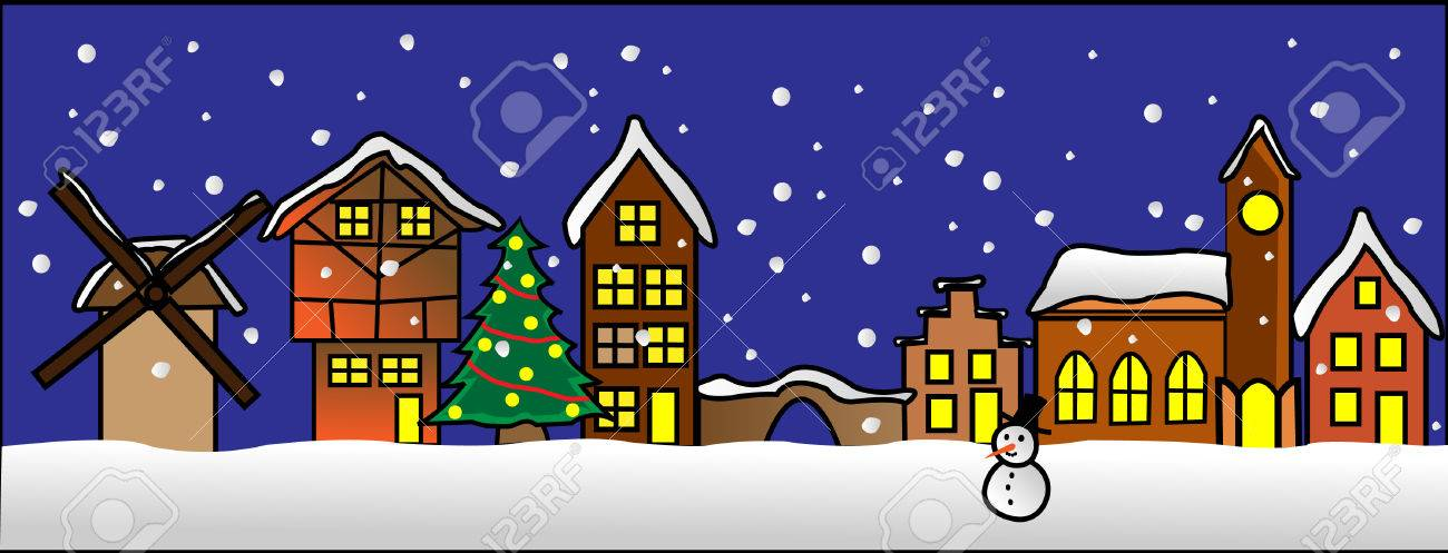 A street in a little christmas village with tree and snowman Stock Vector - 5980322