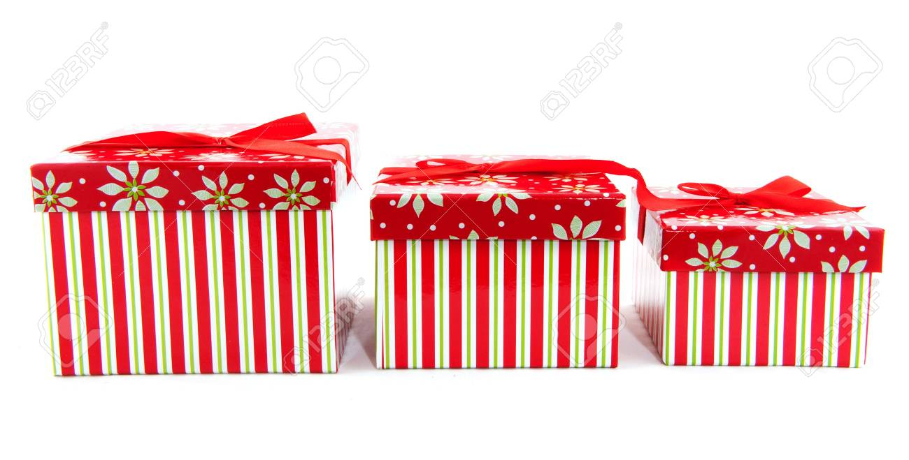 pile with striped christmas presents from big to little Stock Photo - 6091275