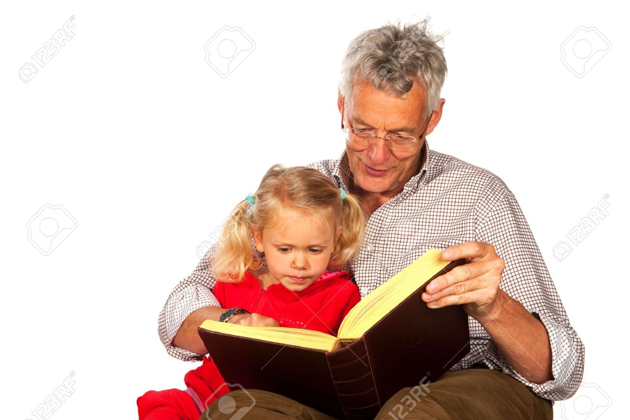 Grandfather is telling a story to his grandchild Stock Photo - 6135588