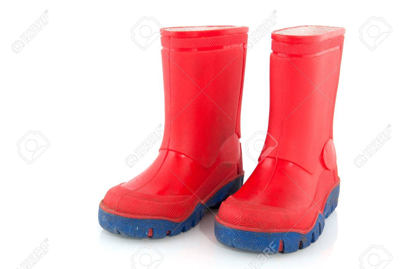 Red and blue rubber child boots for snow and rain Stock Photo - 6219662