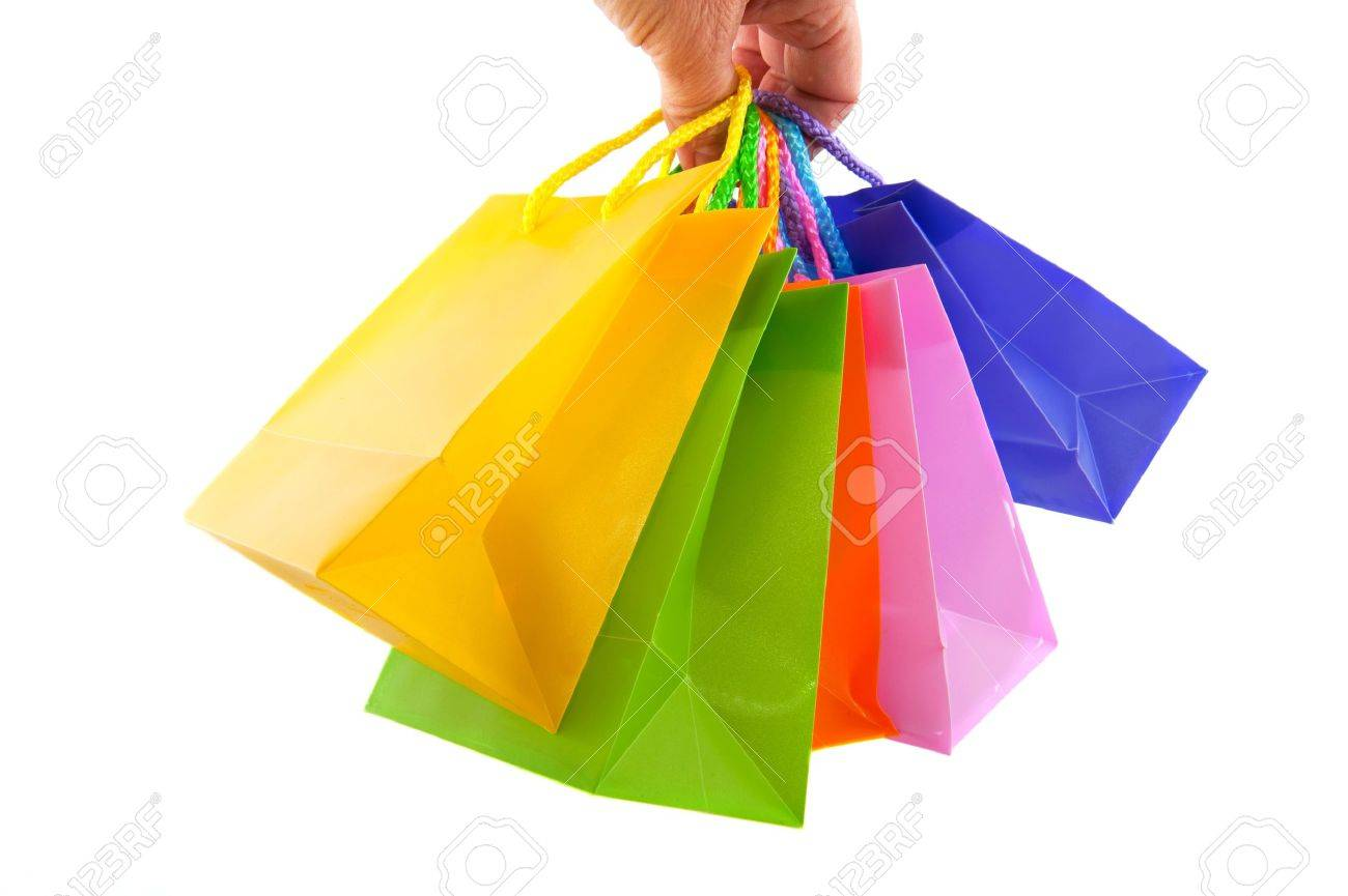 shopping with many colorful bags in the hand Stock Photo - 6219639