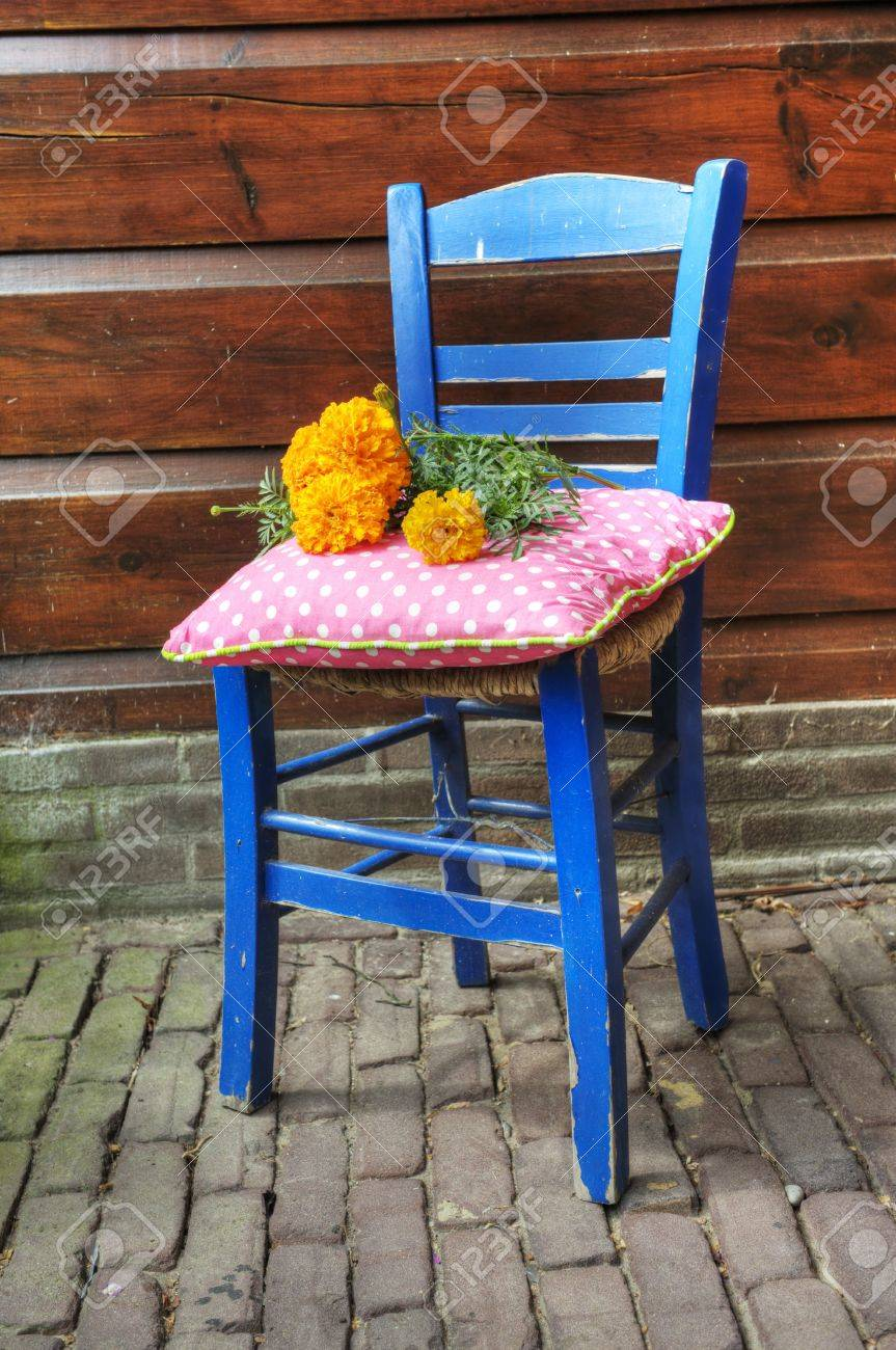 Flowers On The Blue Greek Chair In HDR Technics Stock Photo   6243099