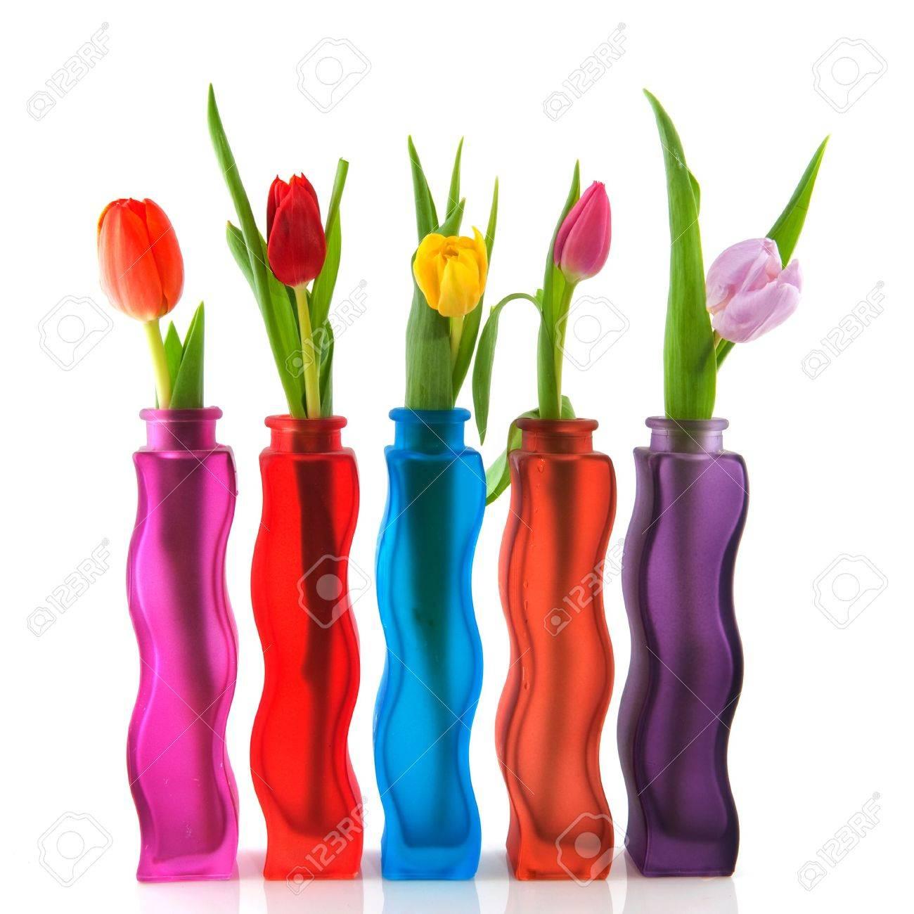 coloridos tulipanes en jarrones modernos aislados sobre blanco foto de archivo