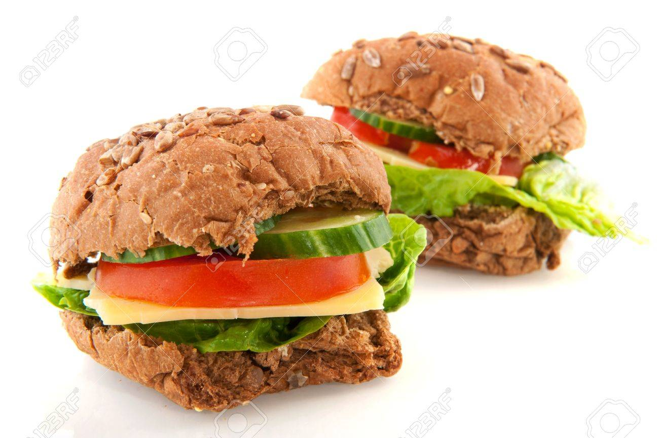 Healthy whole meal cheese sandwiches with vegetables Stock Photo - 6647540