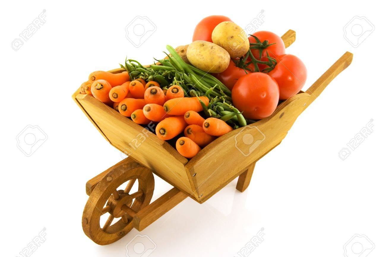 wooden wheelbarrow full with fresh vegetables isolated over white Stock Photo - 6950923
