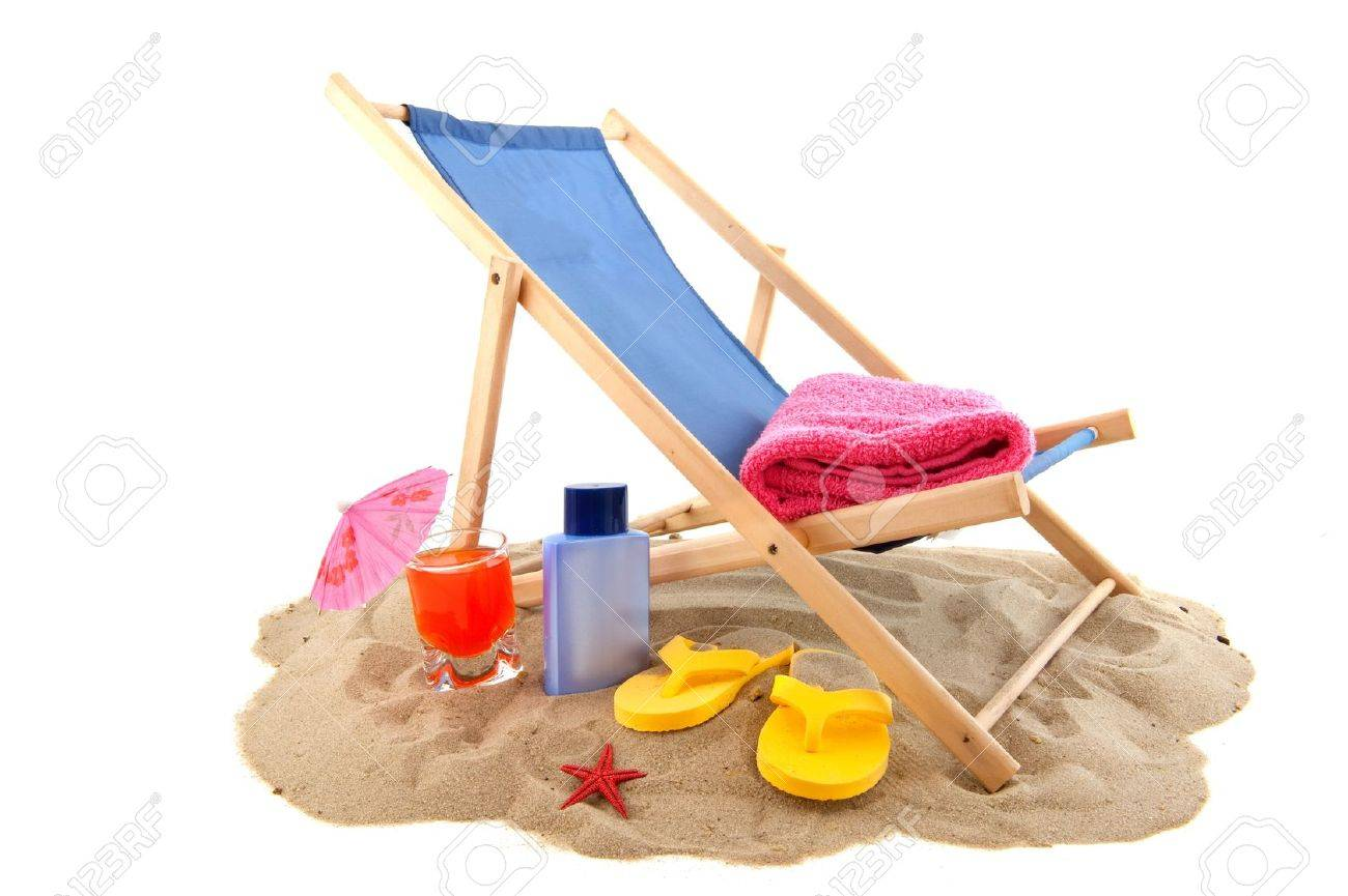 Flip Flop Chair Beach With Relax Chair Drink Flip Flops For Vacation Stock Photo