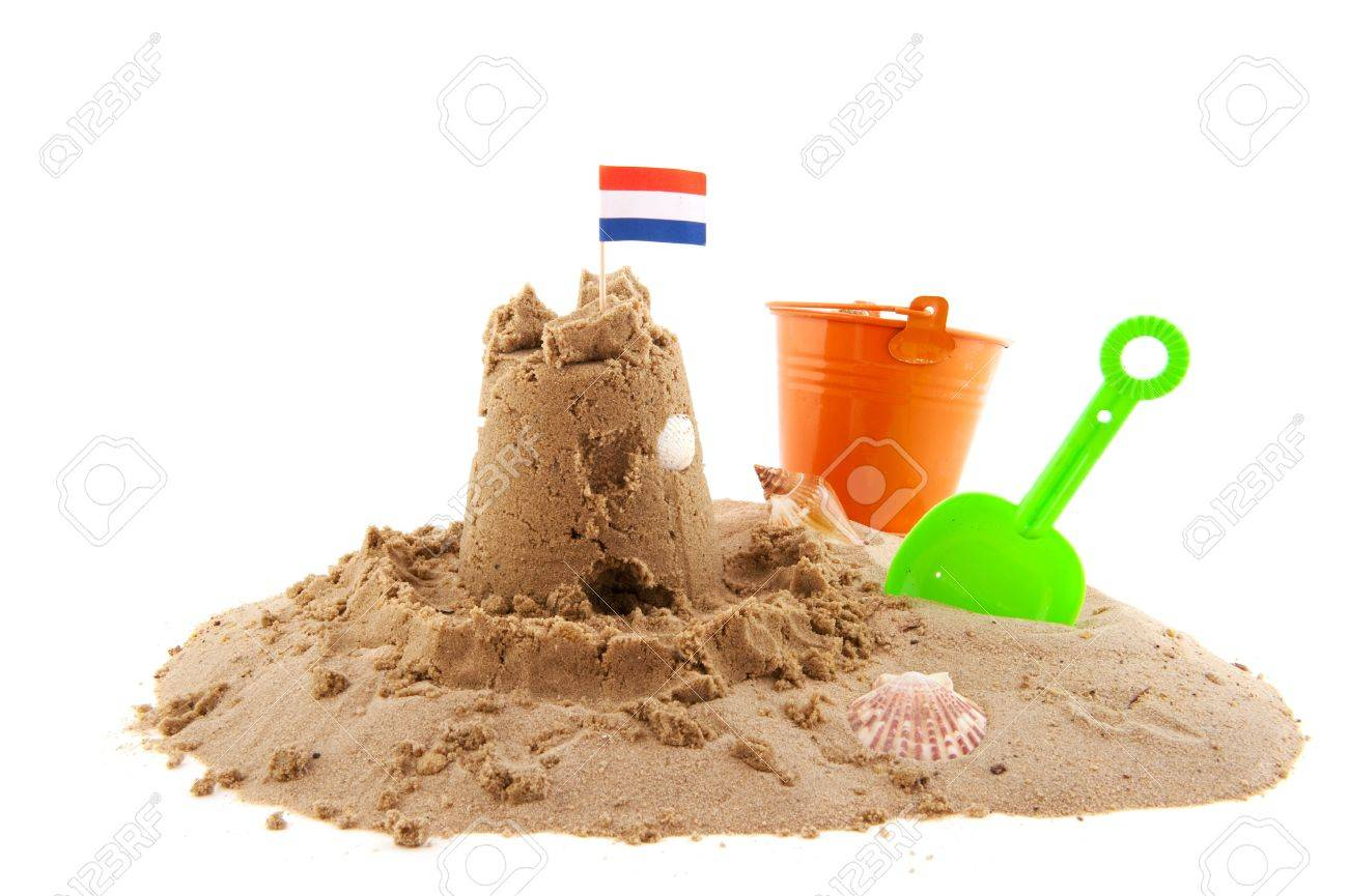 sand castle at the beach isolated white background Stock Photo - 7377419