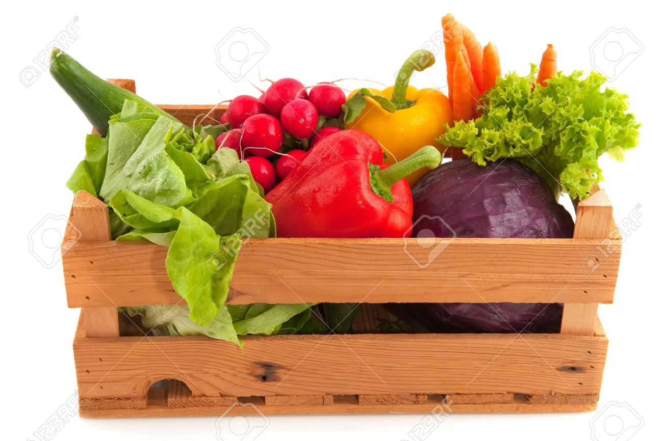 Wooden Crate With A Diversity Of Fresh Vegetables Stock Photo