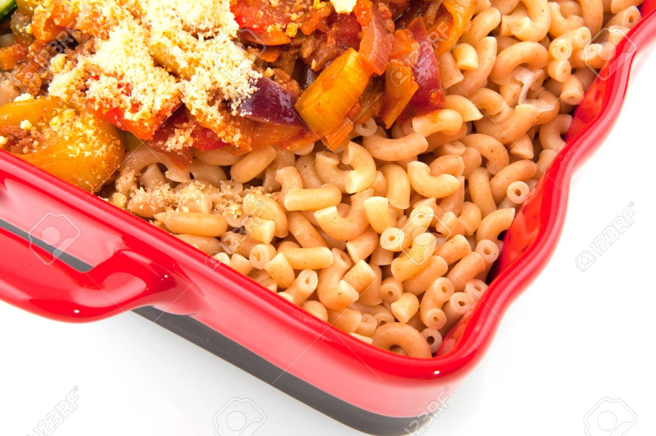 Healthy brown whole meal macaroni pasta with cheese and vegetables Stock Photo - 7713070