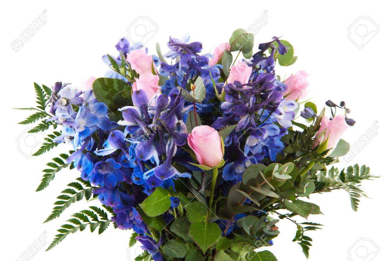 bouquet flowers with blue larkspur and pink roses stock photo