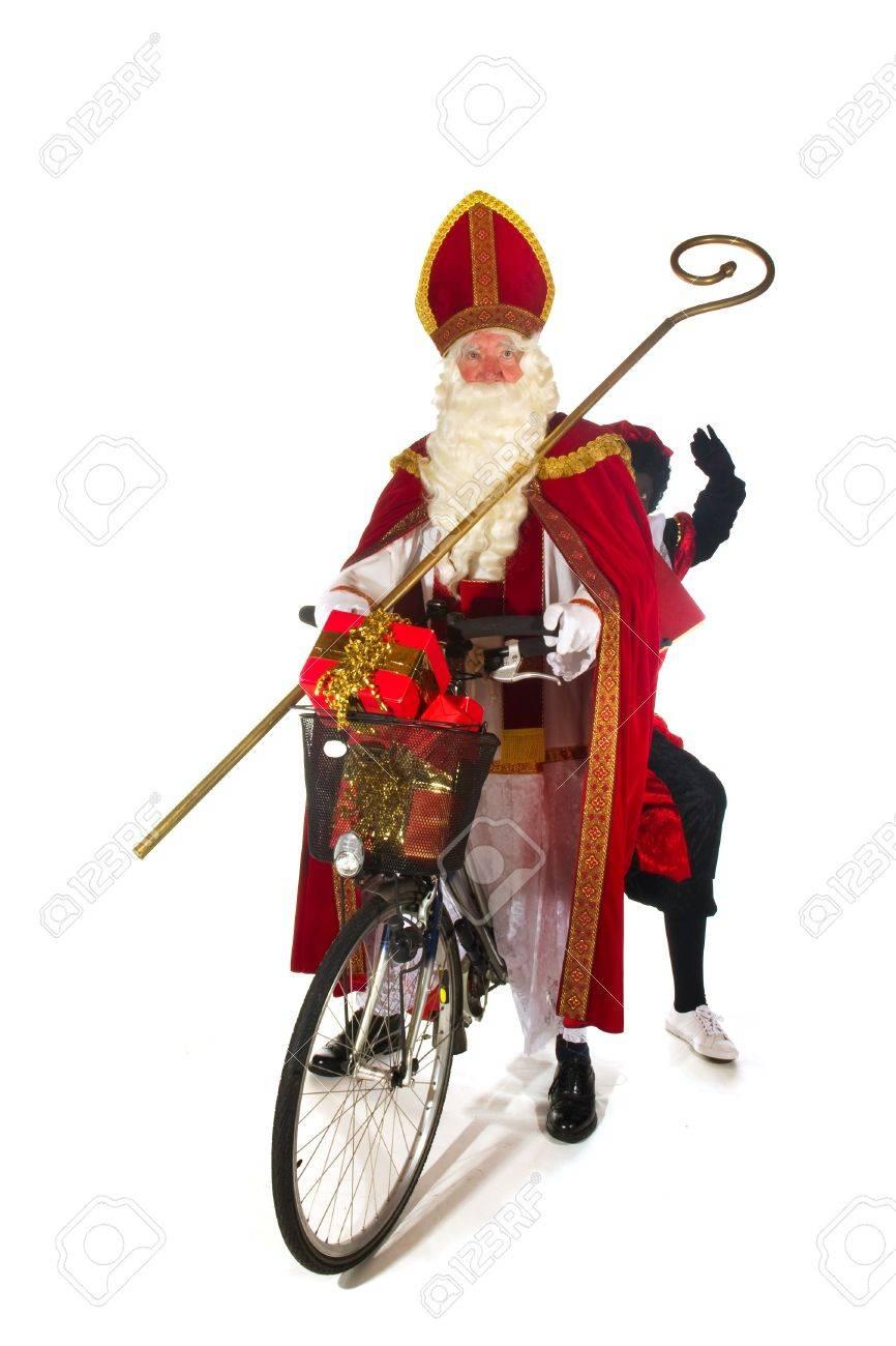 Sinterklaas and Black Piet on the bike Stock Photo - 8056322